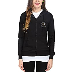 Campus Sutra Womens Fleece Sweatshirt ( CS_ZH_W_LUP_BL_XL _ Black _ XL )
