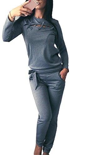 Minetom Damen Elegant Langarm Kapuzenpullover Sets Sport Hoodie Lange Hose Anzug Bandage Zweiteilig Pullover Sportanzug Sportbekleidung Grau DE (Body Für Superman Kostüme Erwachsene)