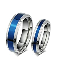 Onefeart Women Titanium Steel Ring Mens Wedding Band,Blue Silver 4MM Size T 1/2 Couple Ring Engagement