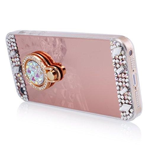 Etsue Transparente Kunststoff Schutzhülle für iPhone SE/iPhone 5S, Glänzend Glitzer Sparkle Strass Diamant Crystal Hard Case Schutz Hülle Slim Bumper Hard Cover Tasche Kristall Glitter Shinning Back C Ring,Rose Gold