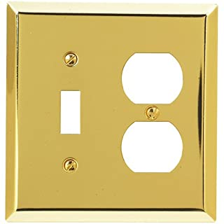 Amerelle 163TDBR Traditional Steel Wallplate with 1 Toggle/1 Duplex Outlet, Polished Brass
