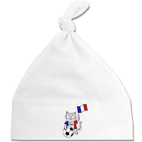 Shirtracer Fußball-Weltmeisterschaft 2018 - Baby - Fußball Katze Frankreich - Unisize - Weiß - BZ15 - Baby Mütze mit einfachem Knoten als Geschenkidee (Katze Gewaschen Cap)