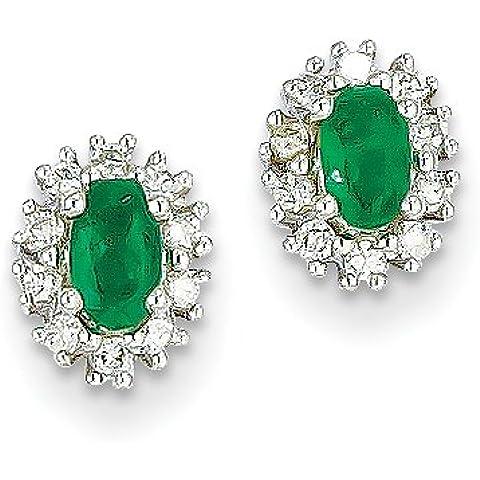 14k oro bianco 1 / 5CT Diamond & Smeraldo Orecchini da UKGems - 14k White Gold 1/5Ct Diamond & Emerald Earring by UKGems - 5 Ct Orecchini Di Diamanti