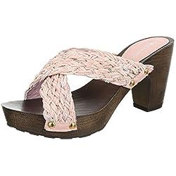 Damen Sandalen Pantoletten Sandaletten High Heels Plateau ST623 (39, Rosa)