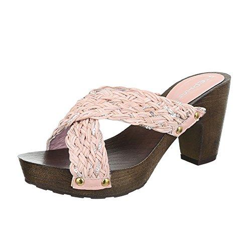 Damen Sandalen Pantoletten Sandaletten High Heels Plateau ST623 (40, Rosa)