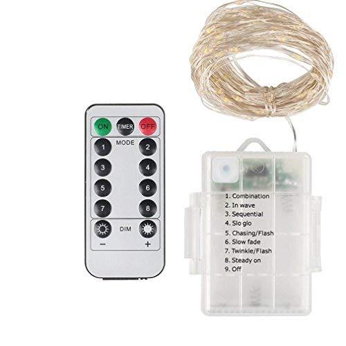 Cara Lichterkette mit 50 LEDs, Variabler Helligkeit, wasserdicht, Fernbedienung, für Hochzeiten, Garten, Außenbereich, ideal für Fahrräder, LKW, 5 m (A+Batteriebox) -