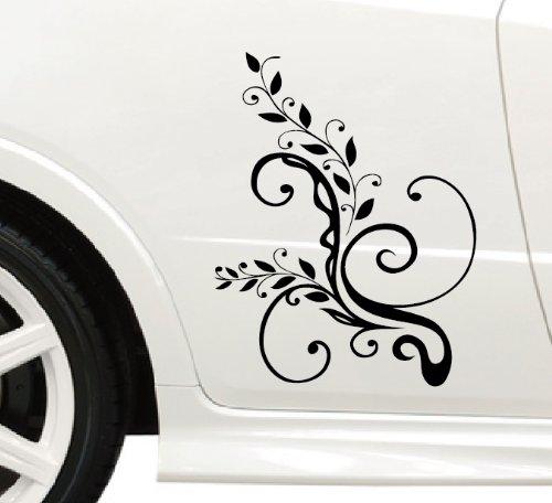 DD Dotzler Design Tuning V1 Blumenranke Floral Aufkleber für Motorhaube Heckscheibe Autoaufkleber (45 x 30 cm schwarz)