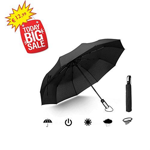 Regenschirm 10 Streben Automatik Zusammenfalten Sturmfest Taschenschirm Winddicht Wasserabweisende UV-Schutz kompakt Stahl Umbrella (Schwarz) (Wellies Spitze)