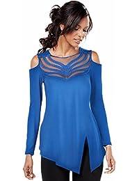 OverDose Camisa de empalme manga larga de cuello redondo blusa superior de las mujeres atractivas del cordón del hilado de la red
