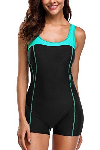 CharmLeaks Damen Einteiler Sport Badeanzug - Trainingsanzug - Figuroptimizer Essence Sportbadeanzug Mit Bein Schwarz M