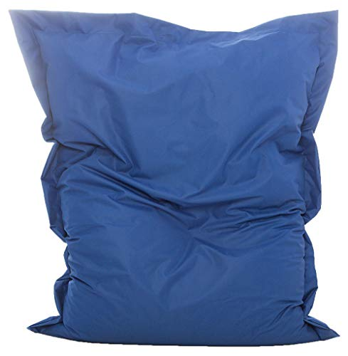 GlueckBean Pouf rectangulaire de qualité supérieure pour intérieur et extérieur avec rembourrage en billes de polystyrène Idéal pour la chambre d'enfant, bleu, 100 x 145