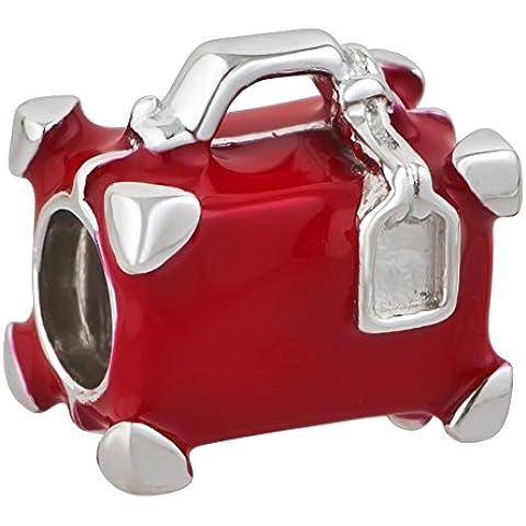 Rojo viajes Maleta encanto 925plata de ley Bead Fits Pandora charms