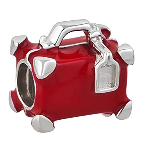 Red Travel Suitcase Charm 925 Sterling Silver Bead Fits Pandora Charms by Charms Bling