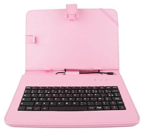 Etui rose + clavier intégré AZERTY (français) pour Asus Zenpad Z300M-6A037A Tablette hybride 10.1