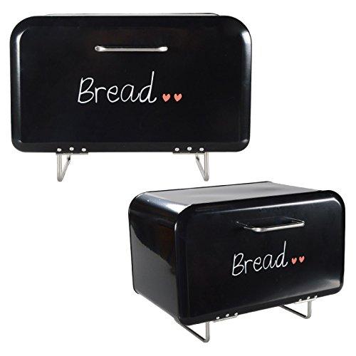 DRULINE Brotkasten auf Fuß Brotbox Brotbehälter Brotkiste Brotaufbewahrung Metall Schwarz