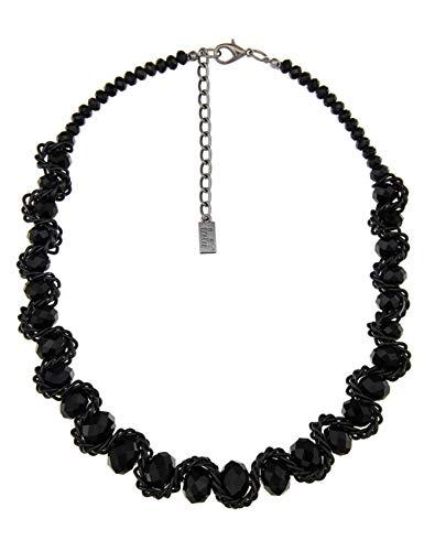 Leslii Damenkette Geo Wire Collier Glasperlen-Kette Kurze Modeschmuck-Kette Schwarze Halskette Statement 52cm in Schwarz