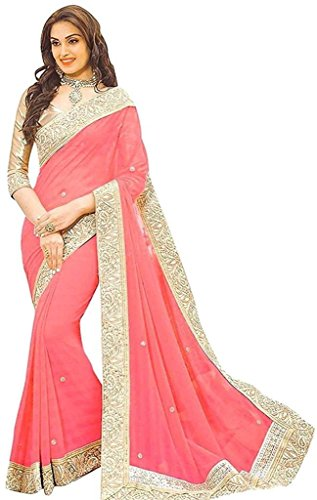 Onlinehub Women's Geogette & Lycra Material Sarees With 1 Blouse Piece(Peach Patta...