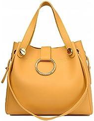 Mujer de moda anillo de la madre paquete de Dos piezas de las Mujeres bolsa de Hombro bolsa de mensajero amarillo