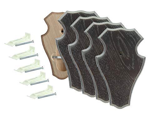 EUROHUNT Rehbock Gehörnbrettchen spitz Dunkelbraun mit Gehörnklammern 5 Sets aus Brettchen und Klammer 19x12 cm oder 22x13 cm rissfreie Eiche (R 22x13 cm)