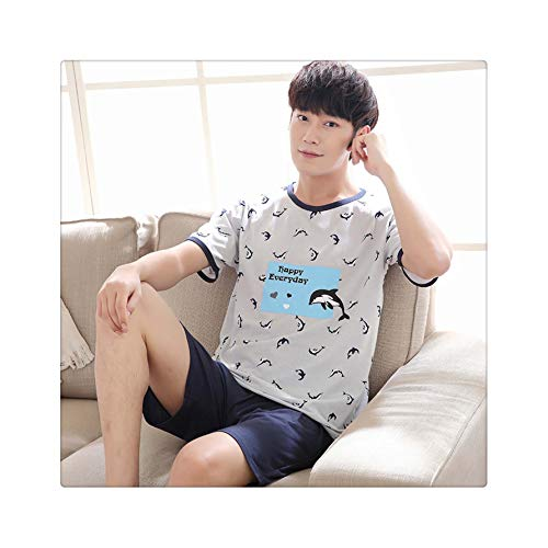 Summer Men's Pajamas Set Cotton Sleep Shirt & Shorts Suit Male Sexy Sleepwear Suit Homewear Pijama Casual Two Piece Set XXXXL 1111 4XL