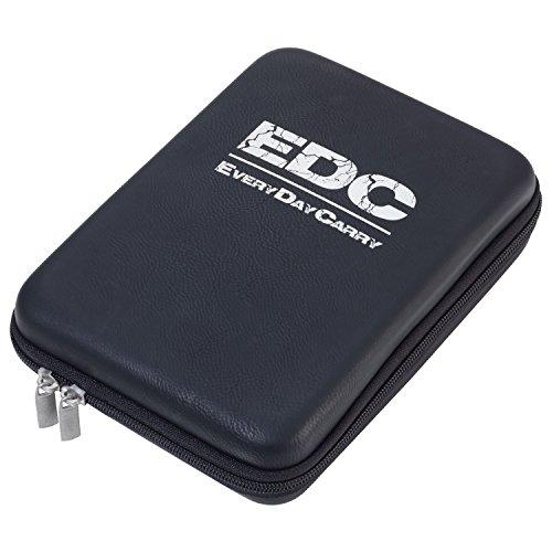 TROIKA EDC CASE – CBO12/BS – Organizer-Etui mit Reißverschluss – Kabel-Organizer, Reise-Kosmetik– 3 Innenfächer – 6 Elastikband-Schlaufen – Trennwand – TROIKA-Original (Reisepass Case Flugtickets,)