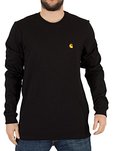 carhartt-wip-uomo-chase-maniche-lunghe-loose-fit-logo-t-shirt-nero-small