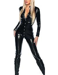 jowiha® Wetlook Clubwear Overall Schwarz glänzend Langärmlig mit Knöpfen