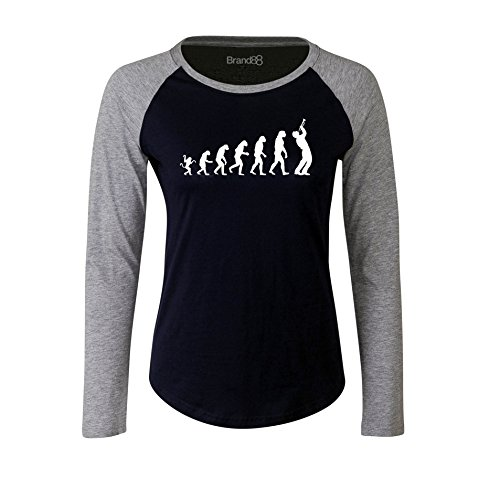 Brand88 - The evolution of a trumpet player, Damen Langarm Baseball T-Shirt Blau & Grau
