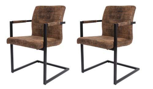 SAM® 2er Set Esszimmerstuhl Stoff Wildlederoptik Parzivo, Stuhl mit Armlehnen, Schwingstuhl mit Eisen-Fuß ...