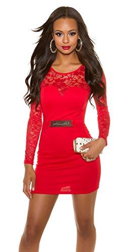 Elegantes KouCla Etuikleid mit Spitze - Langarm Abendkleid Minikleid Schwarz Weiss Rot S - XL (S (8), 3 Rot)