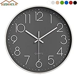 HZDHCLH Wall Clock 12 Inch Silent Non Ticking Clock for Living Room Bedroom Kitchen Office (Grey-White)
