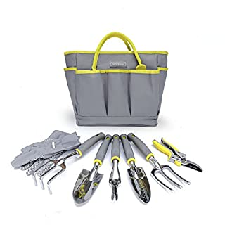 8 Piece Garden Tool Sets, Heavy Duty Gardening Tools with Gardening Gloves, Tool Bag and Pruning Secateurs, Gardener Gifts