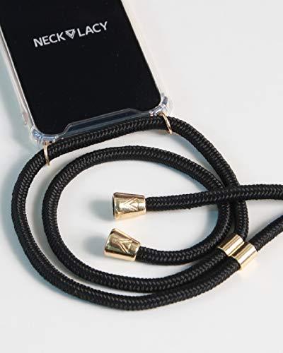 NECKLACY Original Handyhülle mit stylischer Kordel zum Umhängen - für iPhone X/iPhone XS - Crossbody Handyhülle/Handycase/Handykette mit Band - in frustfreier Verpackung - Elegant Black
