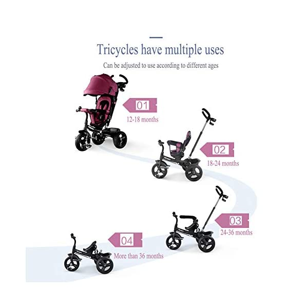 GSDZSY - 4 In 1 Kids Tricycle 3 Wheel Bike Baby Stroller, Foldable With Removable Push Handle Bar, Non-inflatable Rubber Wheel,Adjustable Awning, 1-5 Years,A GSDZSY ❀ Material: high carbon steel + ABS + rubber wheel (non-inflated) ❀ Features: Tricycle can be folded, push rod can be adjusted height, suitable for people of different heights; seat can be adjusted, parasol can be adjusted, suitable for different weather, rear wheel with brake ❀ Performance: high carbon steel frame, strong and strong bearing capacity; rubber wheel anti-skid and wear-resistant, suitable for all kinds of road conditions, good shock absorption, seat with breathable fabric, baby ride more comfortable 3