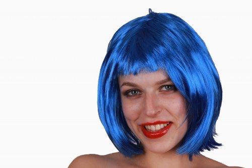 Freche Kurzhaar - Perücke aus Kunstfaser in lila pink und blau Karneval Fasching, (Freche Blau Perücke)