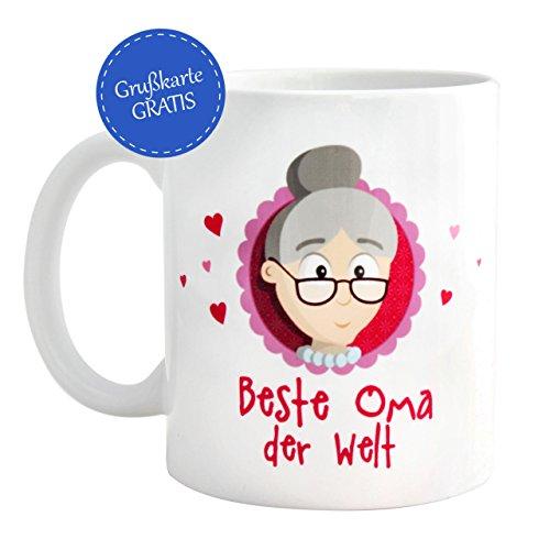 Geschenk beste Oma * beste Oma der Welt Tasse mit GRATIS Glückwunschkarte * Geschenk beste Oma * Geschenk für Oma Weihnachten / Geschenk Oma Geburtstag / Oma werden Geschenk – Oma Geschenk von MyOma