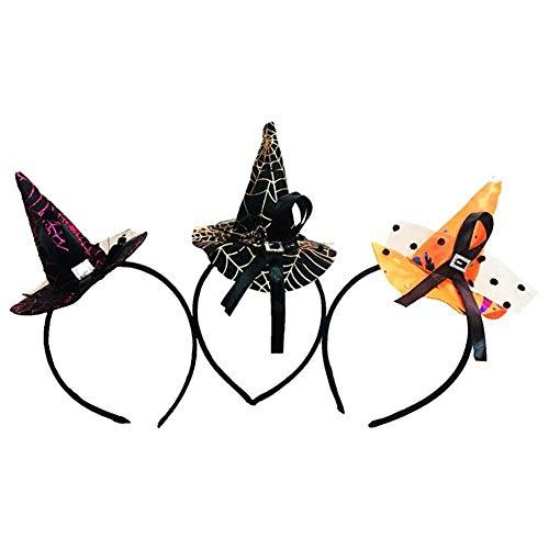 WeiMay Halloween Haarband für Mädchen und Damen Lustige Mini Hexe Hut Tuch Kopfschmuck für Halloween, Party, Karneval Haarschmuck Dekorationen 3pcs
