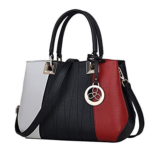 (LAIDAYE Tasche Für Damen Frauen Taschen Handtaschen Umhängetaschen PU Leder Mode Crossbody Geldbörse Totes,BlackwithredwineB-OneSize)