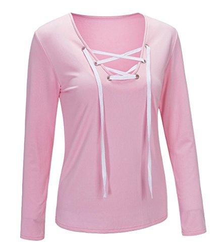 Bigood T-shirt Col V Femme Coton Chemise Top Manche Longue Haut Pull Veste Sport Casual Mode Rose