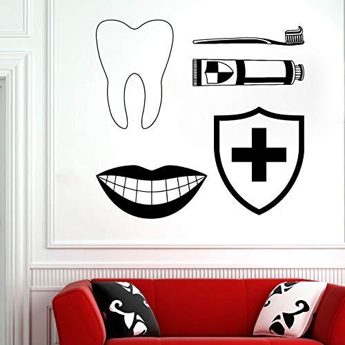 woyaofal Oral Care Clinic Wandtattoo Dekorative Aufkleber für das Büro der Zahnklinik Zahnpflege entfernbare Vinylglaswand sticker32x30cm