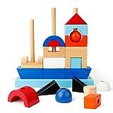 EXTSUD Blocchi Legno Bambini Forme Geometriche Mattoncini Colorati per Costruzioni Gioco Educativo Giocattolo con Confezione Regalo Natale Compleanno per Bambini 3+ Anni