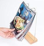 H·Aimee Porta-avvisi da Tavolo A4/5 Trasparente Porta-brochure da Banco T Doppio Ideale per Promozioni Ristoranti Cornici per Foto Documenti e Altro