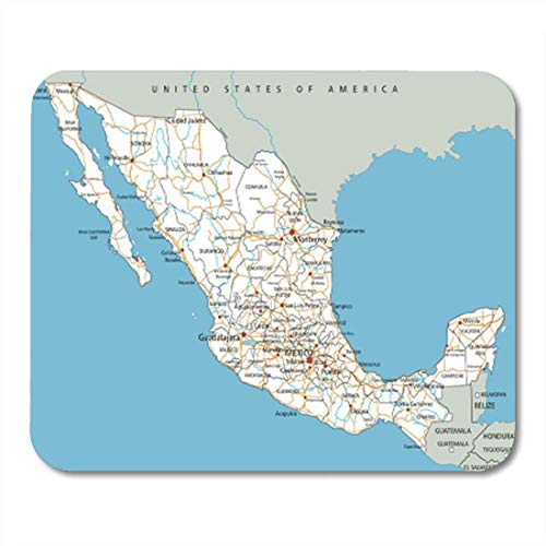 AOCCK Gaming Mauspads Guadalajara High Detailed Mexico Road Map Labeling Outline Rivers Abstract 11.8