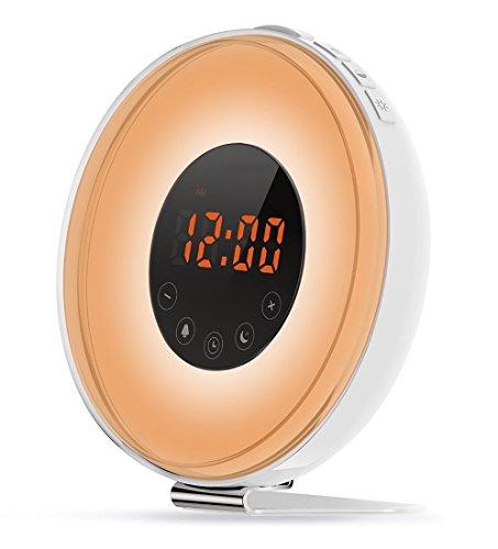 PowerLead Wake Up Licht ,onnenaufgangs Lichtwecker LED Wecker Licht mit FM Radio, Sonnenuntergang, 6 Farben, Smart Schlummer Funktion, Touchscreen & USB Ladegerät Digital-wecker Mit Ladegerät
