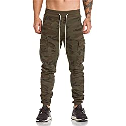 Hombre Pantalón Deportivo Jogger Militar Camuflaje Estilo Urbano Pantalones casuales para hombre Chándal de hombres Xinan (L, Camuflaje)