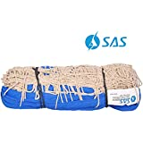 SAS SPORTS Volleyball net Without Wire, White Cotton, 1.5 mm Thickness, 9.5 x 1 mtrs, 100 mesh Size