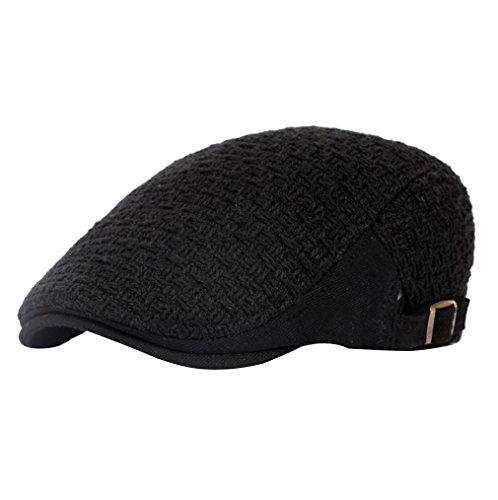 ACVIP Adulte Chapeau Casquette Plate Réglable en Coton Unisexe, Taille Unique,4 Couleurs Noir
