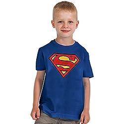 Superman - camiseta del escudo - para niños, con la licencia oficial, algodón, azul - XL