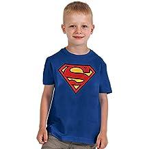 Superman - camiseta del escudo - para niños, con la licencia oficial, algodón, azul
