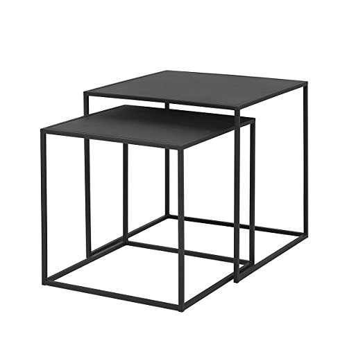 Blomus Fera Beistelltisch 2er Set, schwarz 1x LxBxH 40x40x40cm 1x LxBxH 35x35x35cm -